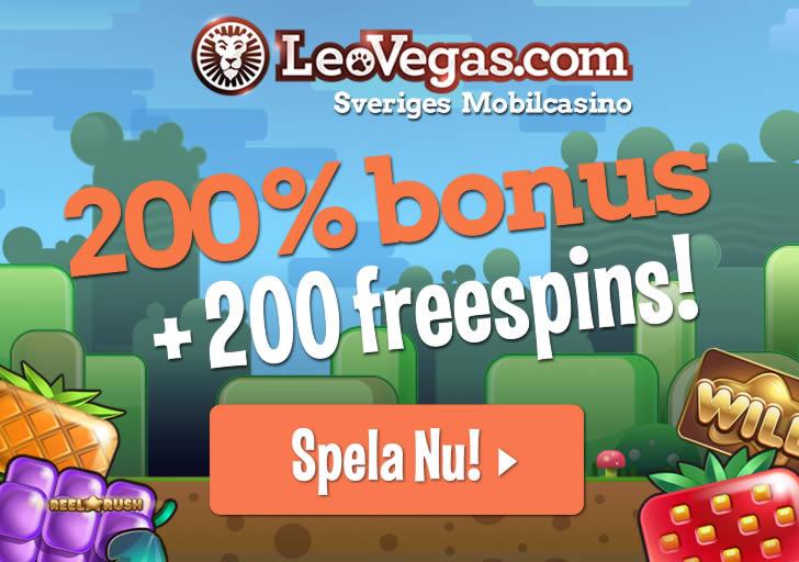 200 freespins hos leovegas